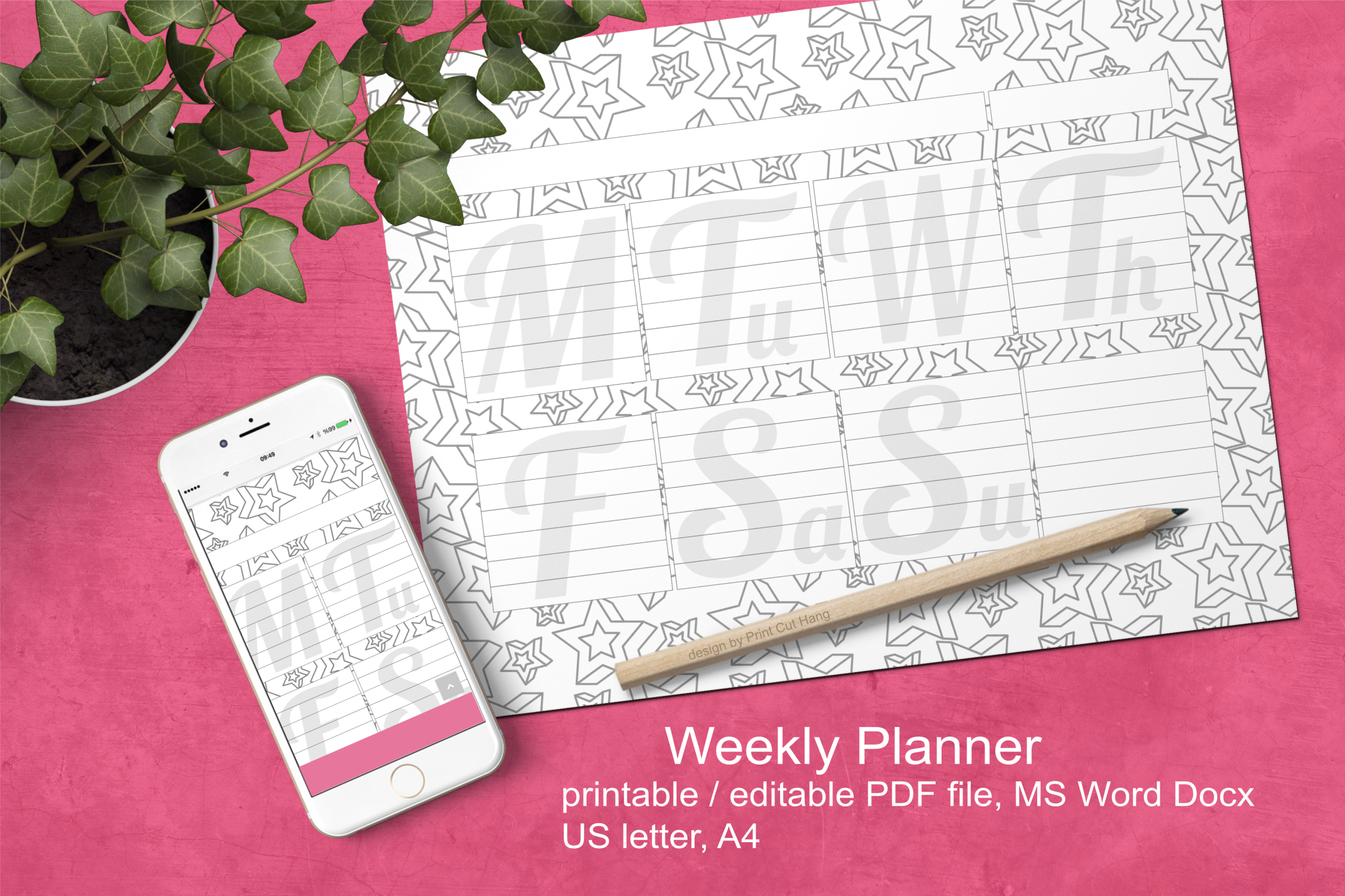 Download Free Stars Ink Saving Weekly Planner A4 Graphic By Print Cut Hang SVG Cut Files