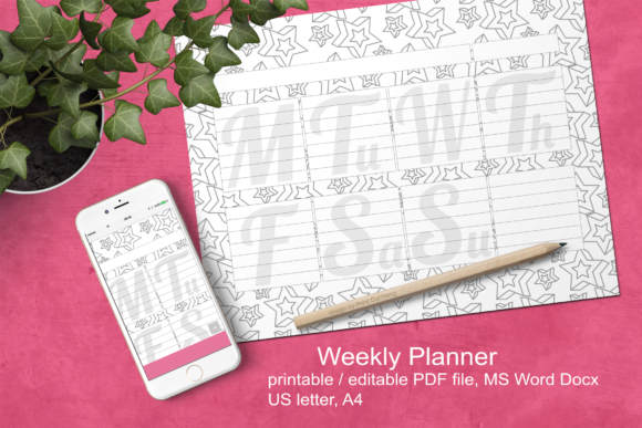 Download Free Stars Ink Saving Weekly Planner A4 Graphic By Print Cut Hang for Cricut Explore, Silhouette and other cutting machines.