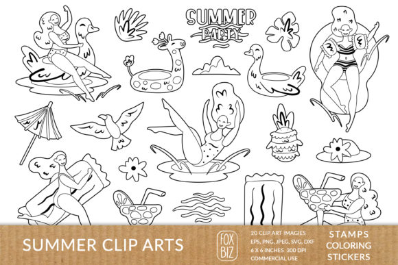 Print on Demand: Summer Digital Stamps Stickers Coloring Graphic Illustrations By FoxBiz