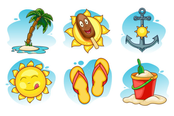 Summer Vector Icons Set Graphic Icons By pixaroma