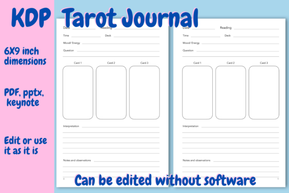 Print on Demand: Tarot Journal for KDP Graphic KDP Interiors By Income Plum