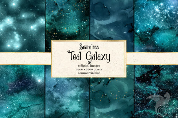 Print on Demand: Teal Galaxy Digital Paper Graphic Textures By Digital Curio - Image 1