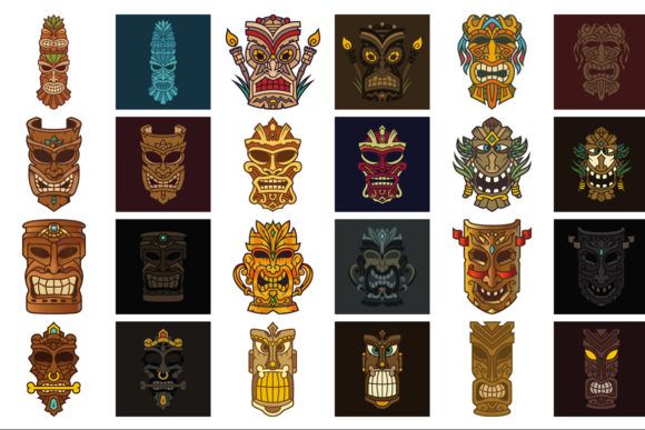 Download Free Tiki Head Illustrations Set Graphic By Pixaroma Creative Fabrica for Cricut Explore, Silhouette and other cutting machines.
