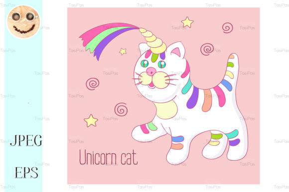 Download Free Unicorn Cat With Rainbow Horn Graphic By Tasipas Creative Fabrica for Cricut Explore, Silhouette and other cutting machines.