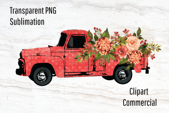 Print on Demand: Vintage Truck Watercolor Flowers  Graphic Illustrations By Blueberry Jam Design
