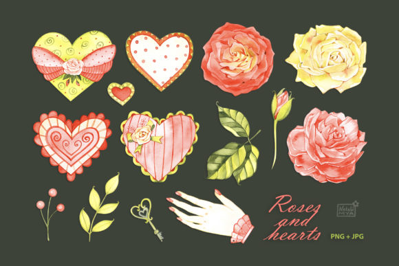 Watercolor Hearts and Roses Graphic Illustrations By NataliMyaStore
