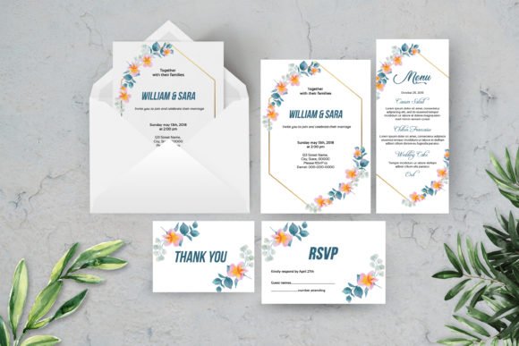Download Free Wedding Invitation Template Set Graphic By Sistecbd Creative for Cricut Explore, Silhouette and other cutting machines.