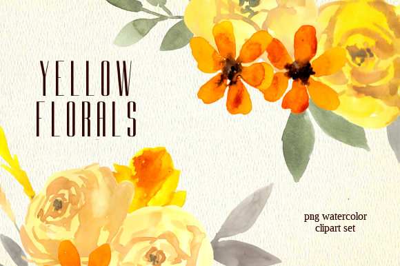 Print on Demand: Yellow Florals Watercolor Clipart Set Graphic Illustrations By roselocket