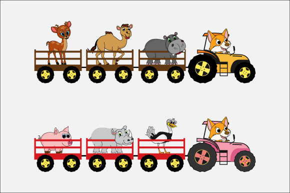 Download Free Cute Animal In Tractor Graphic By Curutdesign Creative Fabrica for Cricut Explore, Silhouette and other cutting machines.