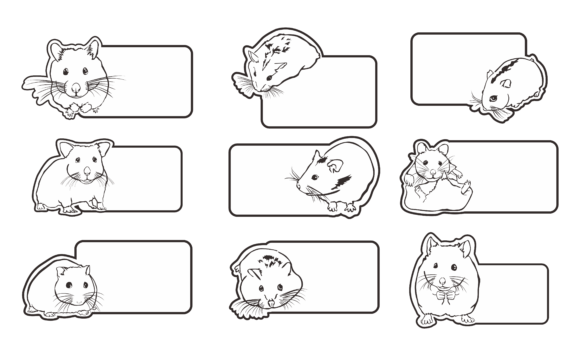 Download Free Greeting Card Theme Hamster Line Art Graphic By Arief Sapta for Cricut Explore, Silhouette and other cutting machines.