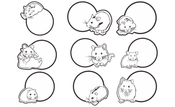 Print on Demand: Greeting Cards Theme Hamster Line Art Graphic Crafts By Arief Sapta Adjie