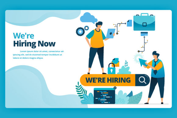 Print on Demand: Landing Page of Hiring the Best Workers Graphic Graphic Templates By setiawanarief111