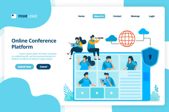 Download Free Landing Page Of Online Video Conference Graphic By for Cricut Explore, Silhouette and other cutting machines.