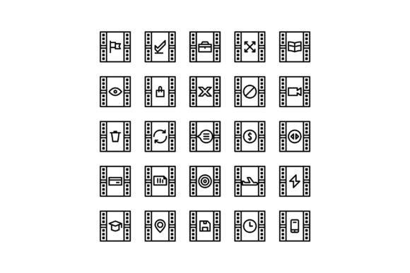 Download Free Movie Black And White Line Icon Graphic By Glyph Faisalovers for Cricut Explore, Silhouette and other cutting machines.