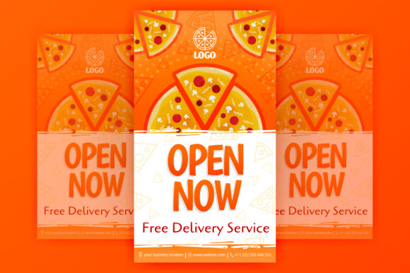 Download Free Poster Template Of Fast Pizza Delivery Graphic By for Cricut Explore, Silhouette and other cutting machines.