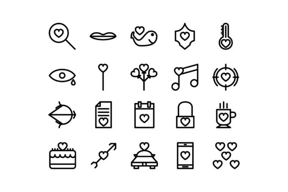 Download Free Romance Black And White Line Icon Graphic By Glyph Faisalovers for Cricut Explore, Silhouette and other cutting machines.