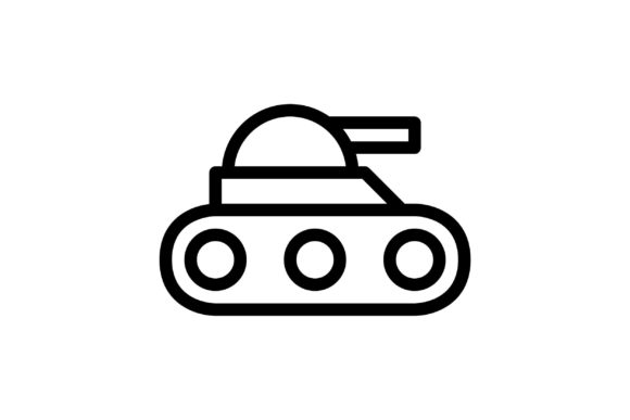 Download Free Tank Black And White Line Icon Graphic By Glyph Faisalovers for Cricut Explore, Silhouette and other cutting machines.