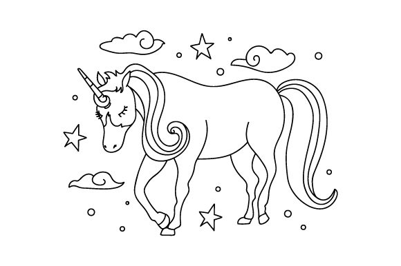 Unicorn Coloring Page Kids Craft Cut File By Creative Fabrica Crafts