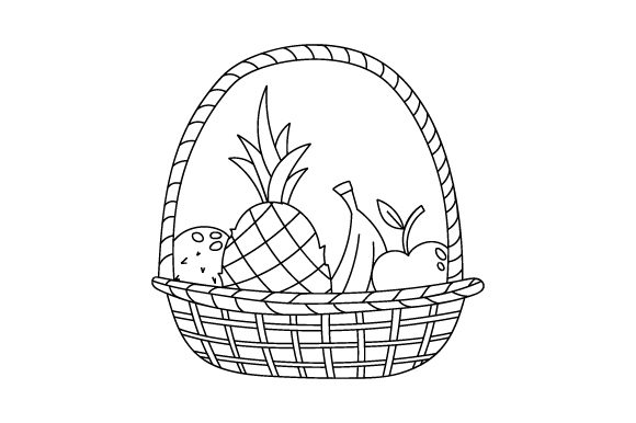 Fruit Basket Coloring Page Kids Craft Cut File By Creative Fabrica Crafts