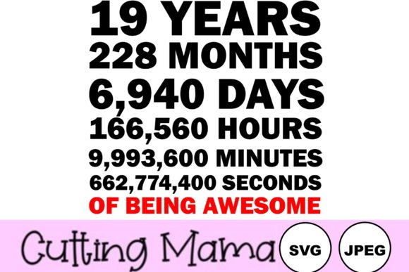19 Years of Being Awesome Gráfico Crafts Por Cutting Mama