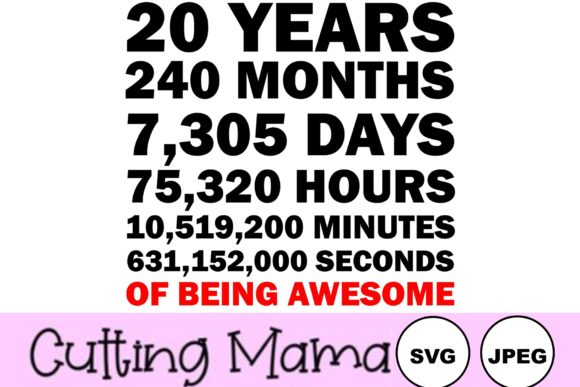 20 Years of Being Awesome Gráfico Crafts Por Cutting Mama