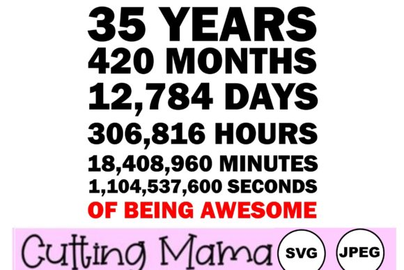 35 Years of Being Awesome Gráfico Crafts Por Cutting Mama