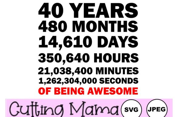 40 Years of Being Awesome Gráfico Crafts Por Cutting Mama