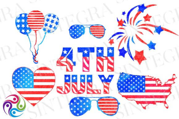 Print on Demand: 4th of July Watercolor Clipart Bundle Graphic Illustrations By Sintegra