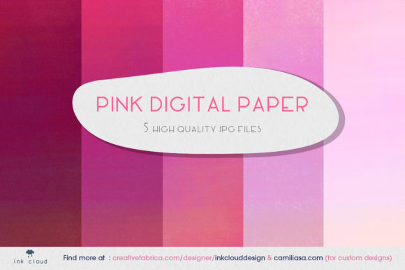 Print on Demand: 5 Pink Digital Paper Background Patterns Gráfico Fondos Por Inkclouddesign