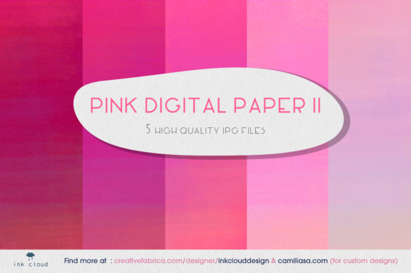 Print on Demand: 5 Pink Digital Paper Background Patterns Graphic Backgrounds By Inkclouddesign