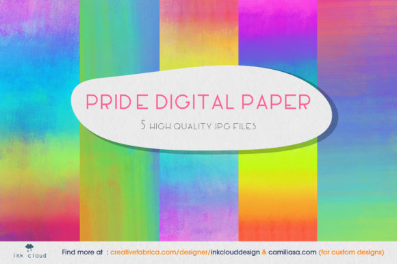 Print on Demand: 5 Pride Month Rainbow Holo Background Graphic Backgrounds By Inkclouddesign