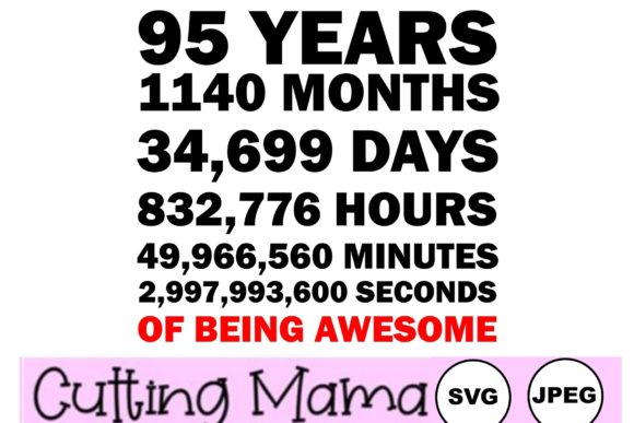 95 Years of Being Awesome Gráfico Crafts Por Cutting Mama