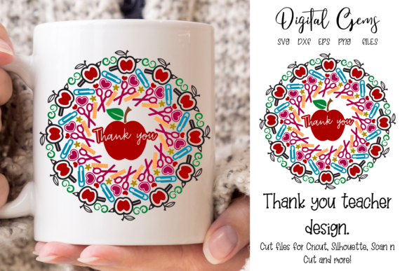 Download Free Apple Mandala Design Graphic By Digital Gems Creative Fabrica for Cricut Explore, Silhouette and other cutting machines.
