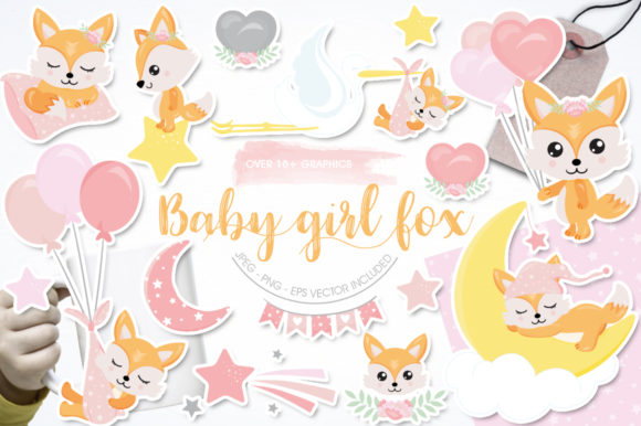 Download Free Baby Girl Fox Graphic By Prettygrafik Creative Fabrica for Cricut Explore, Silhouette and other cutting machines.