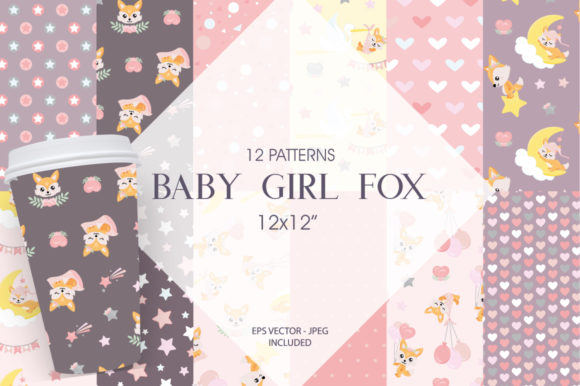 Print on Demand: Baby Girl Fox Graphic Patterns By Prettygrafik