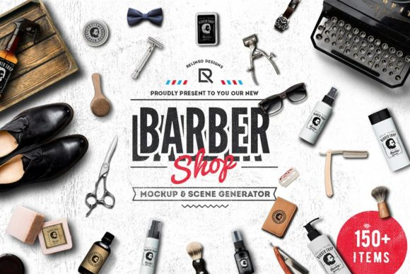Barber Shop - Mockup Generator Graphic Scene Generators By Relineo
