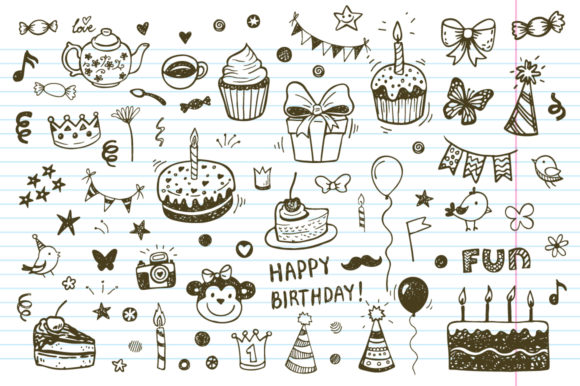 Download Free Happy Birthday Doodles Set Graphic By Teploletauf Creative Fabrica for Cricut Explore, Silhouette and other cutting machines.