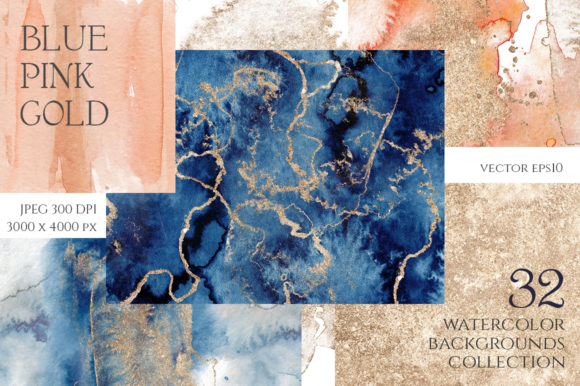 Blue, Pink & Gold Abstract Backgrounds Graphic Backgrounds By EvgeniiasArt