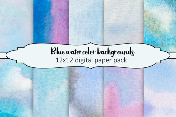 Print on Demand: Blue Watercolor Backgrounds Graphic Backgrounds By A Design in Time - Image 1