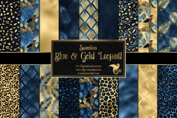 Download Free Blue And Gold Leopard Digital Paper Graphic By Digital Curio for Cricut Explore, Silhouette and other cutting machines.