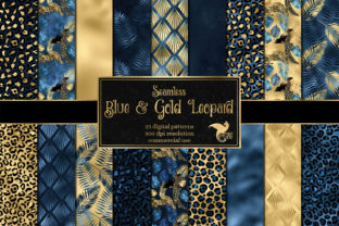Print on Demand: Blue and Gold Leopard Digital Paper Graphic Backgrounds By Digital Curio