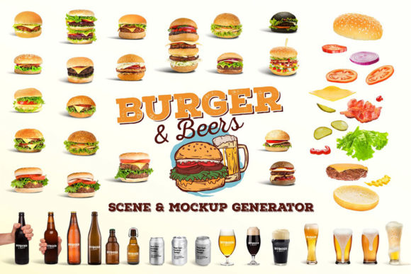 Burger&Beer Mock-up / Scene Creator Graphic Scene Generators By Relineo