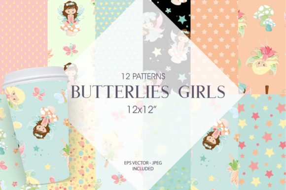 Print on Demand: Butterfly Girls Graphic Patterns By Prettygrafik
