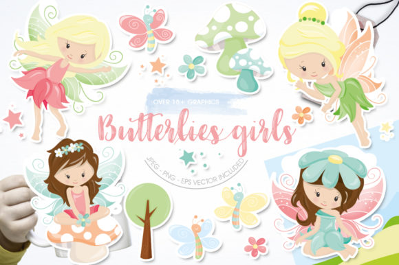 Print on Demand: Butterfly Girls Graphic Illustrations By Prettygrafik