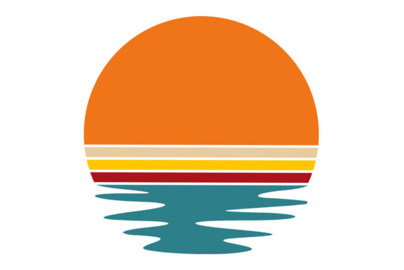 Print on Demand: Circle Retro Summer Vintage Sunset Waves Graphic Logos By SunandMoon