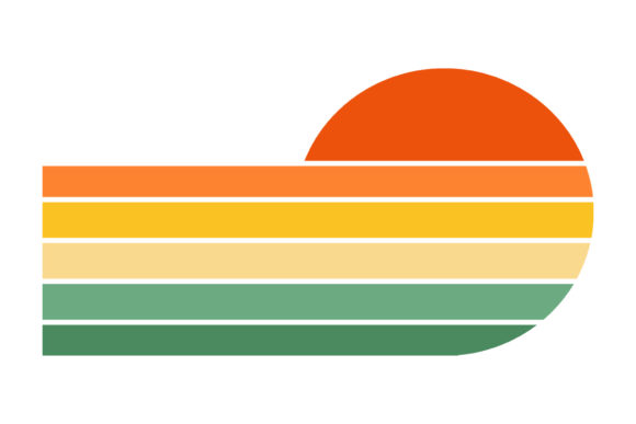 Print on Demand: Circle and Racing Stripes Retro Sunset Graphic Logos By SunandMoon