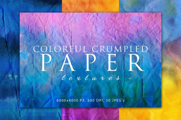 Print on Demand: Colorful Crumpled Paper Textures 2 Graphic Abstract By ArtistMef