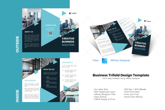 Download Free Creative Trifold Brochure Template Graphic By Rivatxfz for Cricut Explore, Silhouette and other cutting machines.
