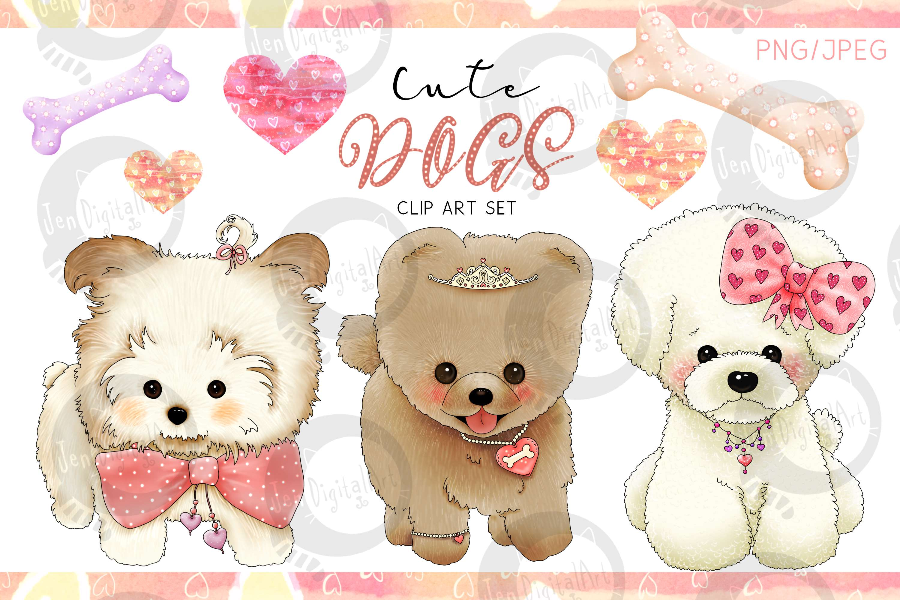 Download Free Cute Dogs Designer Clip Art Set Graphic By Jen Digital Art for Cricut Explore, Silhouette and other cutting machines.