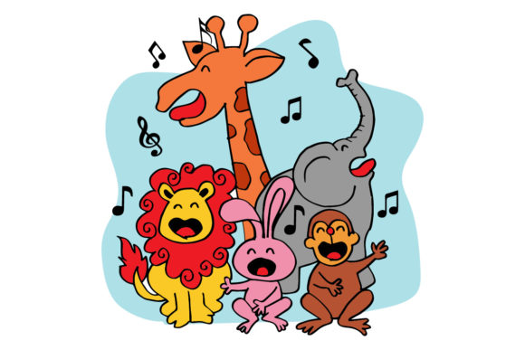 Download Free Cute Group Of Animals Sings 2 Graphic By Han Dhini Creative for Cricut Explore, Silhouette and other cutting machines.